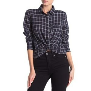 NEW Abound Navy Plaid Shaun Twist Button Down